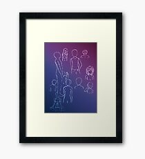 White Gel Pen Sketches Framed Print