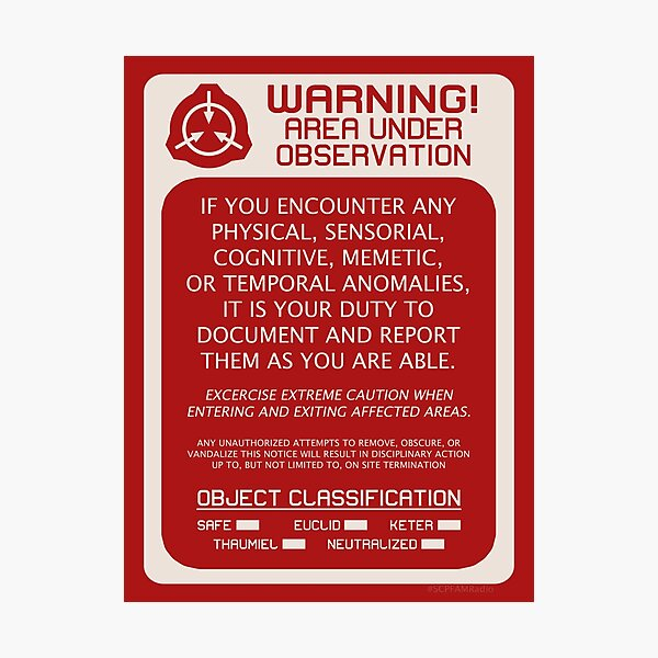 SCP Foundation Red WARNING Signage - Red Background Photographic Print