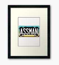 SHINY BLUE/GOLD LICENSE PLATE HOLDER - ASSMAN Framed Print