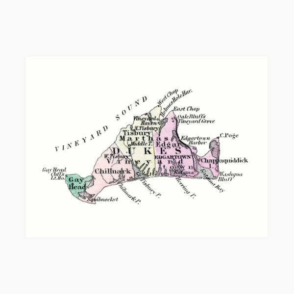 1875 Map of Martha's Vineyard Art Print