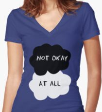 TFIOS - Not okay at all Women's Fitted V-Neck T-Shirt