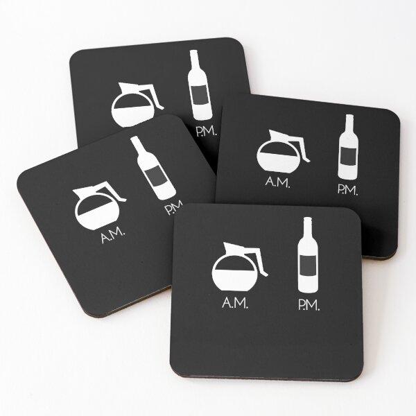 Coffee Wine AM PM Coasters (Set of 4)