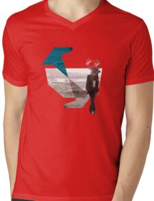 Deer over city Mens V-Neck T-Shirt