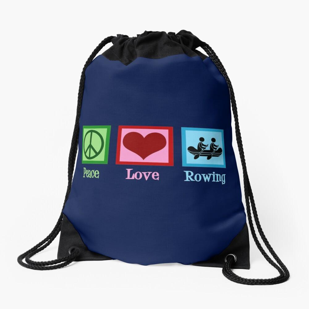 Peace Love Rowing Drawstring Bag