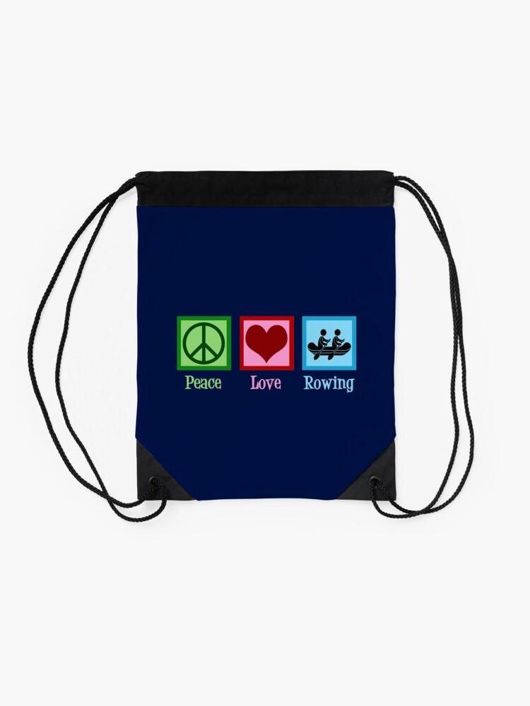 Alternate view of Peace Love Rowing Drawstring Bag