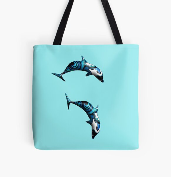 Psychedelic Dolphins Surfing All Over Print Tote Bag