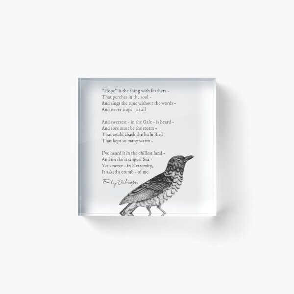 'Hope is the thing with feathers' Emily Dickinson Inspirational Poem Acrylic Block
