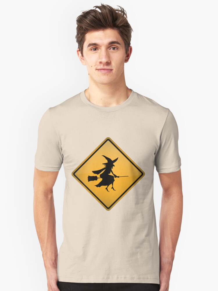 Low Flying Witches Warning Sign Unisex T-Shirt Front