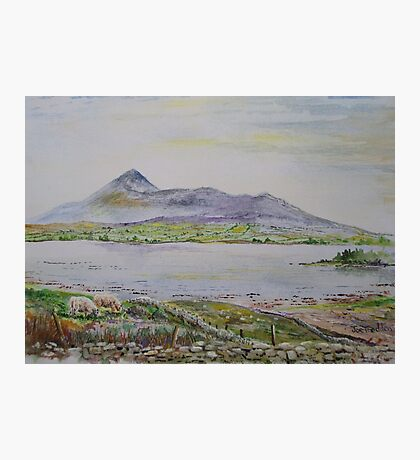 Croagh Patrick in watercolour Photographic Print