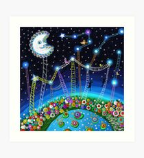 Greeting card.The stairs in the sky. Art Print