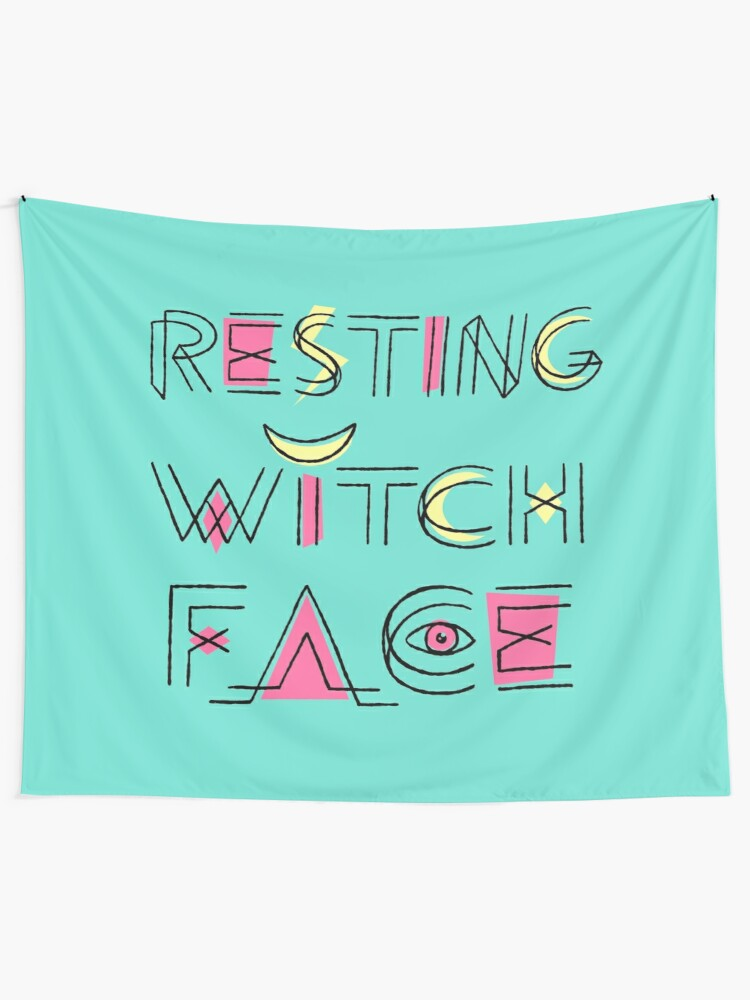 Alternate view of Resting Witch Face Tapestry