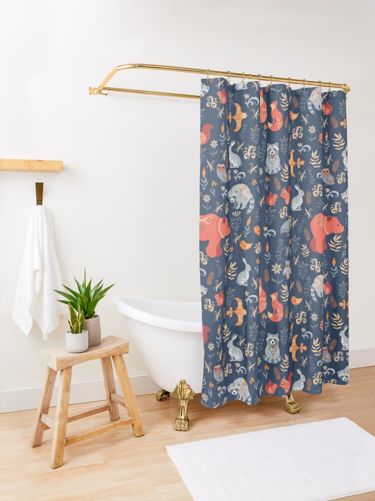 Alternate view of Fairy-tale forest. Fox, bear, raccoon, owls, rabbits, flowers and herbs on a blue background. Shower Curtain