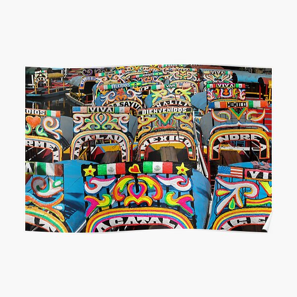 Colourful chinampas and trajineras in Mexico City Poster