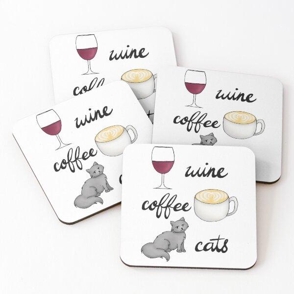 Wine Coffee Cats Coasters (Set of 4)