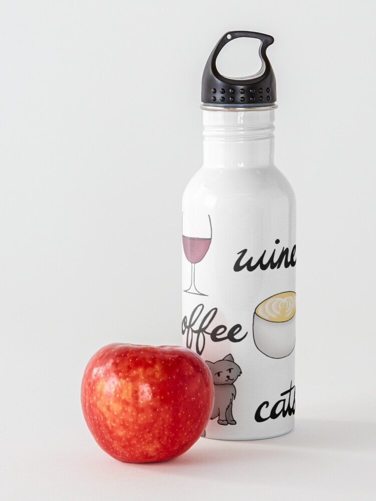 Alternate view of Wine Coffee Cats Water Bottle