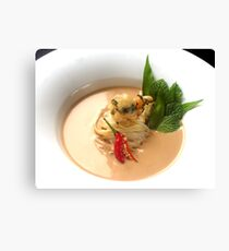 Fragrant Almond Laksa with noodles, fresh herbs and Oriental garden crispy prawns Canvas Print