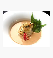 Fragrant Almond Laksa with noodles, fresh herbs and Oriental garden crispy prawns Photographic Print