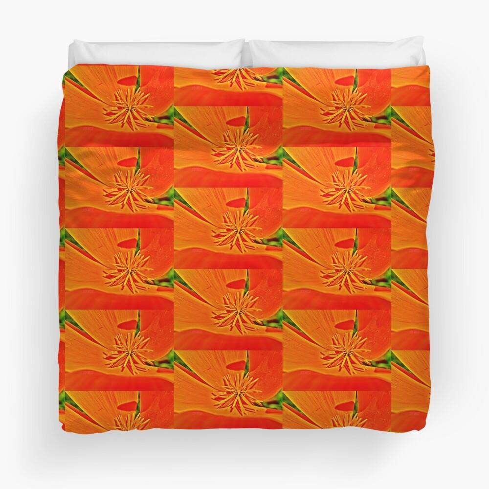 Orange Poppy Star Duvet Cover