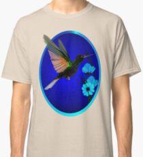 Green Hummingbird-Blue Flowers Oval Classic T-Shirt