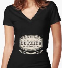 Foggy Nelson's Butcher Shop - Best Ham In Hell's Kitchen  Women's Fitted V-Neck T-Shirt