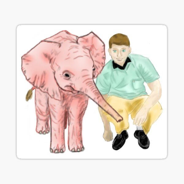 Pink Elephant Friend Sticker