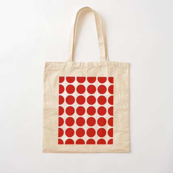 Red Dots Pattern Red & White Cotton Tote Bag