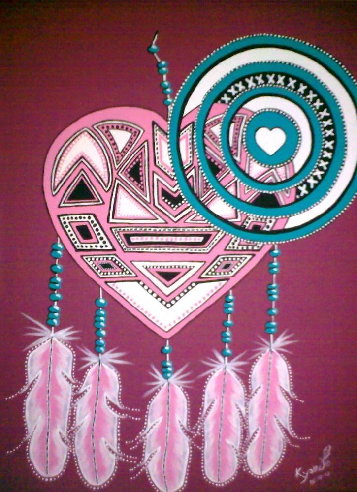 Tribal Heart Mandala pink/turquoise by Kyobe