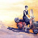 Audrey Hepburn and Vespa in Roma Holidey  by Yuriy Shevchuk