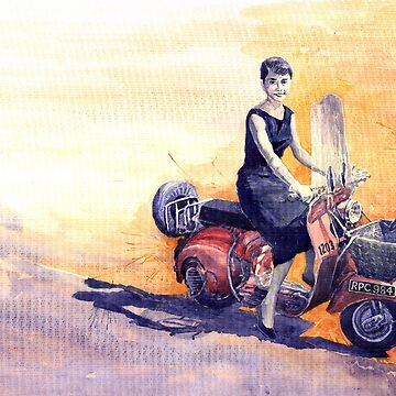 Audrey Hepburn and Vespa in Roma Holidey  by shevchukart