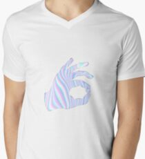 Holographic Ok Emoji Hand Mens V-Neck T-Shirt