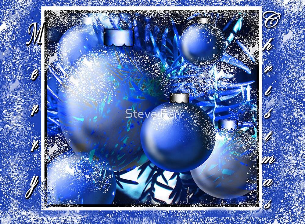 """Cool Blue Snow Ornaments"" by Steve Farr"