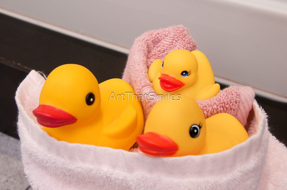 """All Wrapped Up"" - rubber duckies in bathroom by ArtThatSmiles"