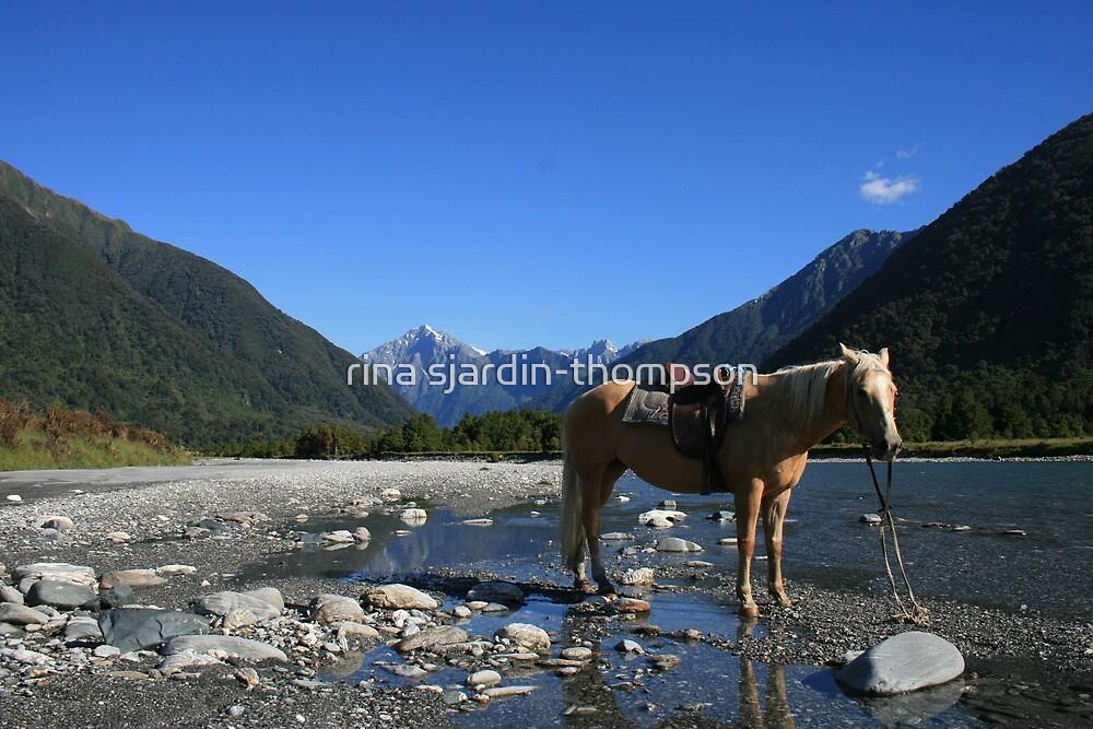 """Sally at the Mahitahi River"" West Coast, South Island, NZ by rina sjardin-thompson"
