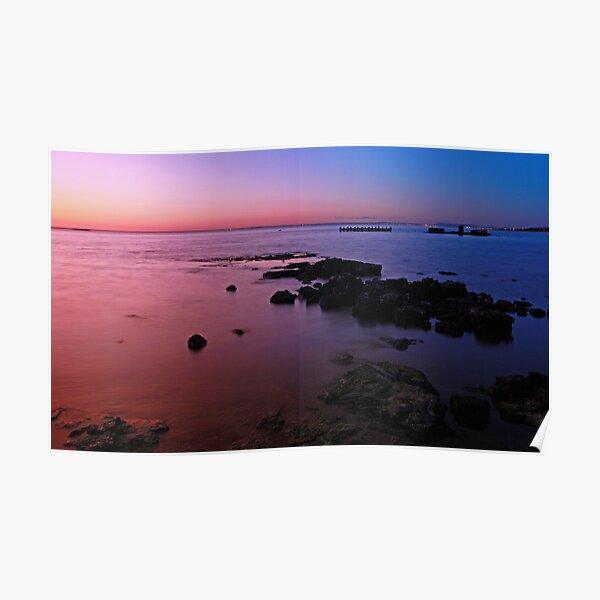 Evening Twilight - Half Moon Bay, Black Rock Poster