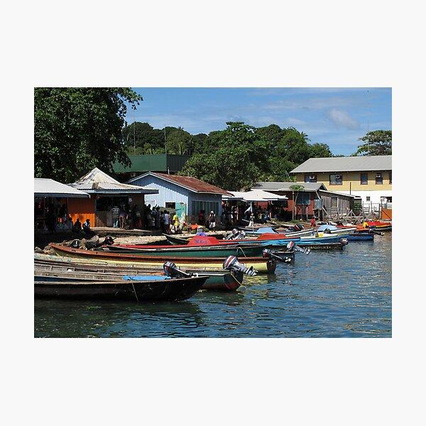 Longboats at Gizo Photographic Print