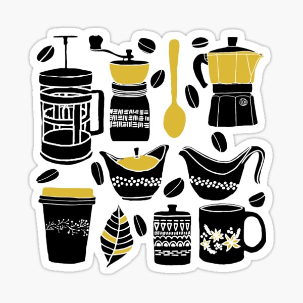 Coffee lovers minimalist illustration in black and gold. Sticker