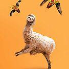 Weird Funny Sloth Llama with Flying Taco by SkylerJHill