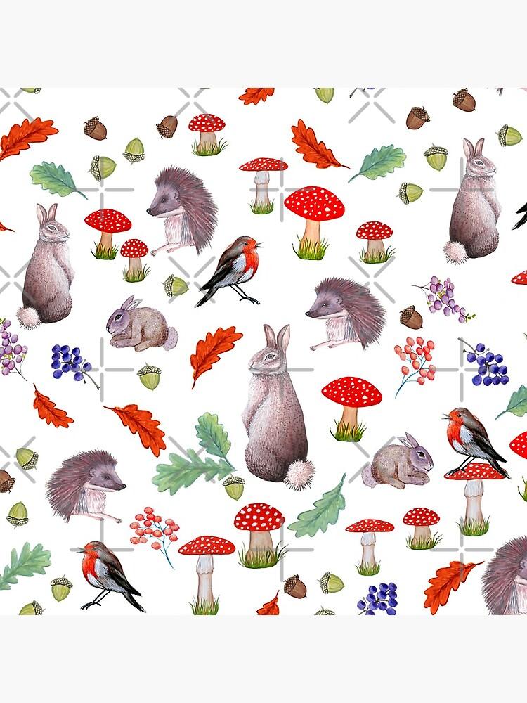 Rabbit, hedgehog, red mushroom , forest floor, nature by MagentaRose