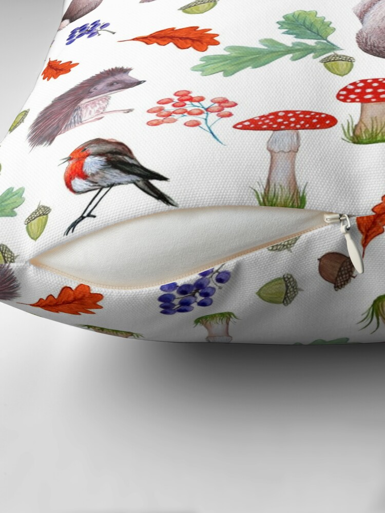 Alternate view of Rabbit, hedgehog, red mushroom , forest floor, nature Throw Pillow