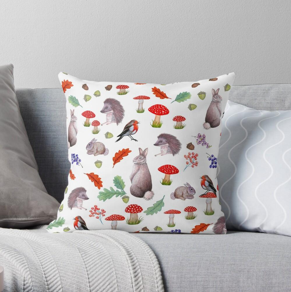 Rabbit, hedgehog, red mushroom , forest floor, nature Throw Pillow