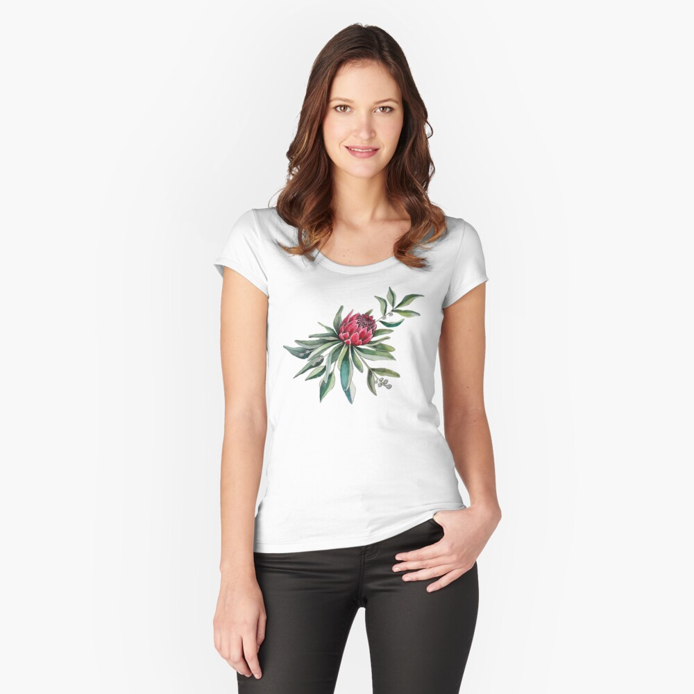 Protea watercolor Fitted Scoop T-Shirt
