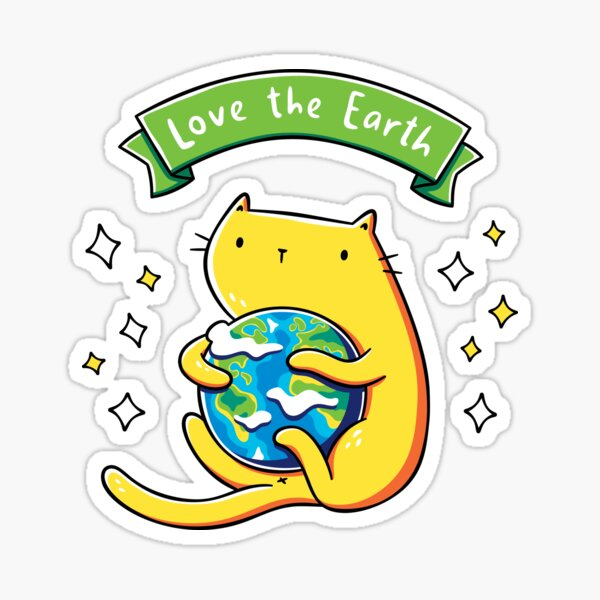 Earth Lover Cat Sticker