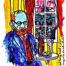 Freud Being Served A Glass Of Jung Wine At A Cafe In Brussels by Alec Goss