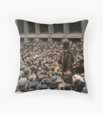 British Suffragette Emmeline Pankhurst addressing crowd on Wall Street, New York in 1911 Throw Pillow