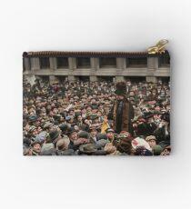 British Suffragette Emmeline Pankhurst addressing crowd on Wall Street, New York in 1911 Zipper Pouch