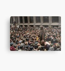 British Suffragette Emmeline Pankhurst addressing crowd on Wall Street, New York in 1911 Metal Print