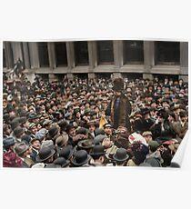 British Suffragette Emmeline Pankhurst addressing crowd on Wall Street, New York in 1911 Poster
