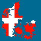 Flag of Denmark and Map of Denmark by IBMClothing