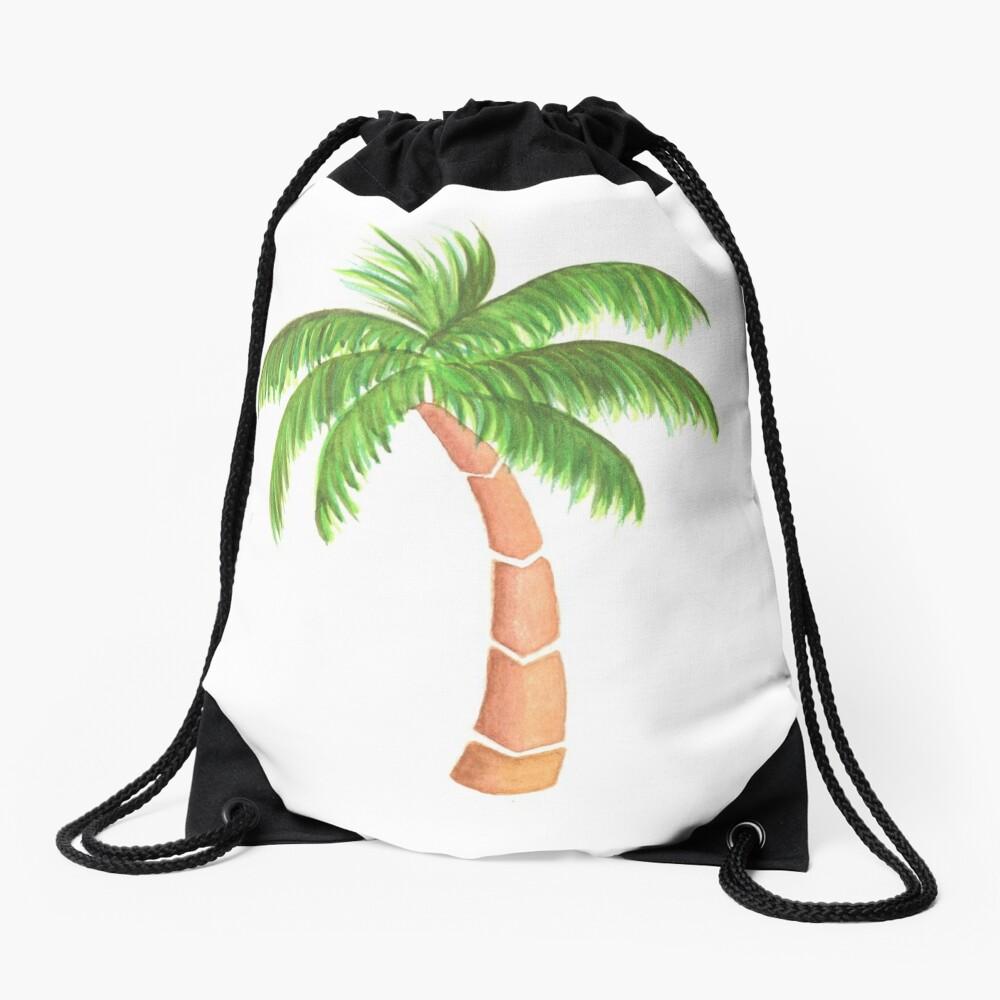 Tropical Palm Tree - Watercolor Drawstring Bag