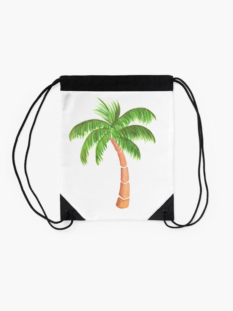 Alternate view of Tropical Palm Tree - Watercolor Drawstring Bag